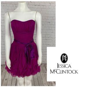 Jessica McClintock Tulle Strapless Dress